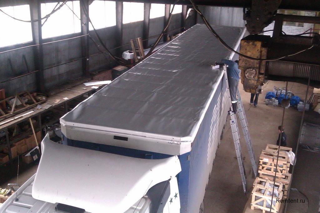 Замена тентовой крыши на полуприцеп